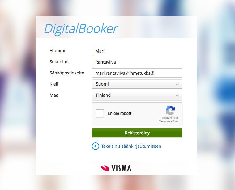 Uuden tilin luonti Visma Connectiin. Huomioi, että käytät samaa sähköpostiosoitetta kuin Digitalbookeriin kirjautumisessa.