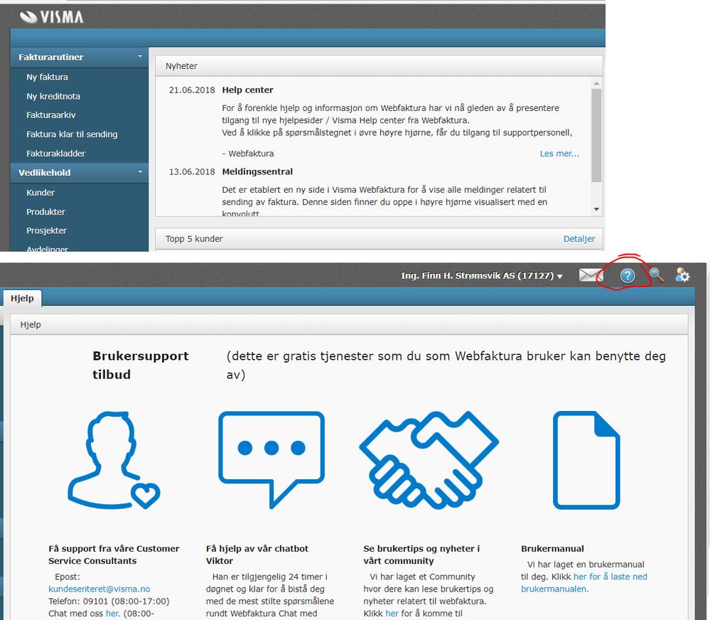 Ny hjelpefunksjon inne i WebFaktura
