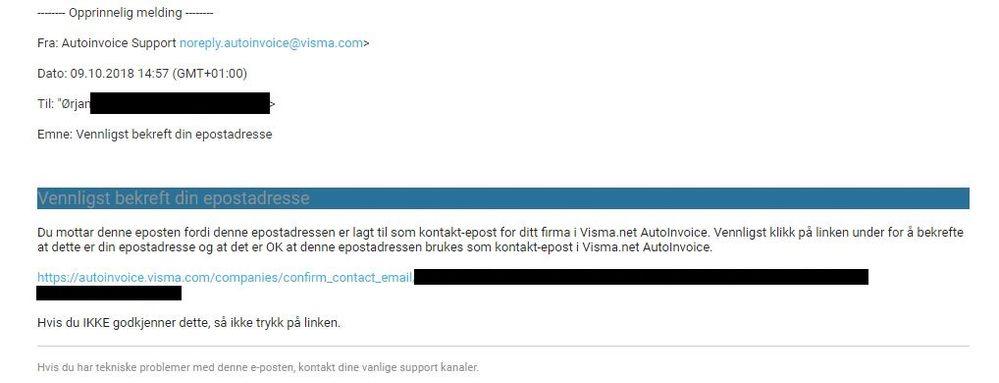 Mailen slik det blir sendt pr. i dag når man legger inn e-postadresse på firma i AutoInvoice
