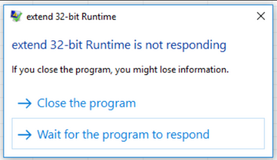 extend 32-bit Runtime is not responding.PNG